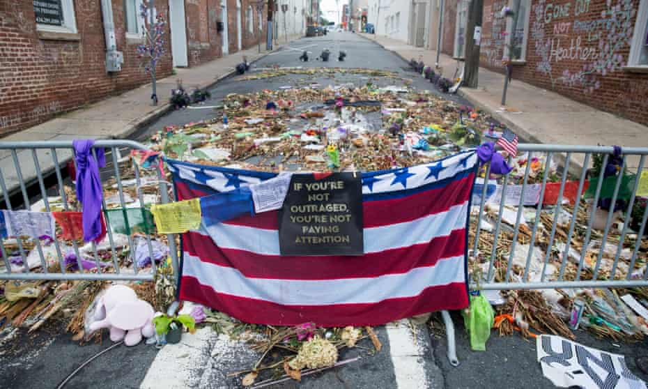 A memorial to activist Heather Heyer and those affected by the violence in Charlottesville, August 2017