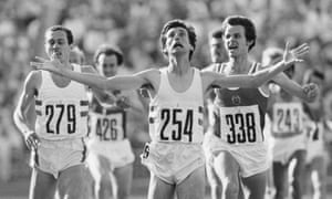 Sebastian Coe wins the men's 1500 metres final from Jürgen Straub and Steve Ovett at the 1980 Moscow Olympics.