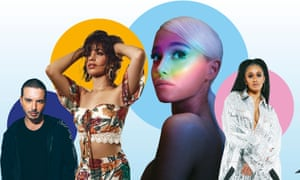 Line up... (from left): J Balvin; Camila Cabello; Ariana Grande; Cardi .