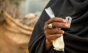 The blades and anti-bleeding powder used in female genital mutilation