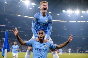 Raheem Sterling and Oleksandr Zinchenko celebrate City's late winner