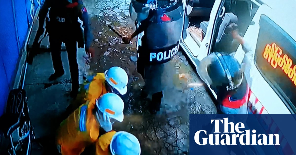 Myanmar: police filmed assaulting medics in CCTV footage – video