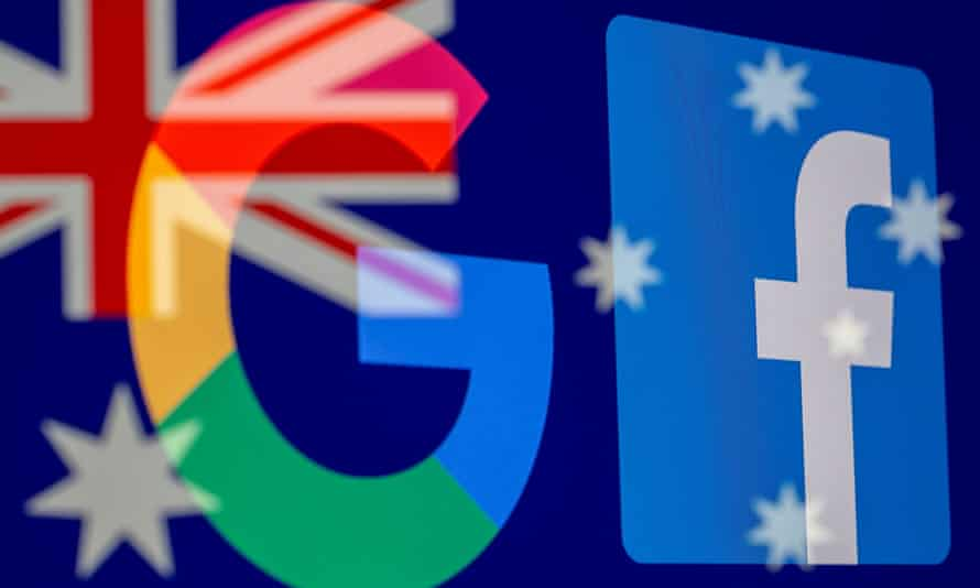 Google and Facebook logos and Australian flag are displayed in this illustration