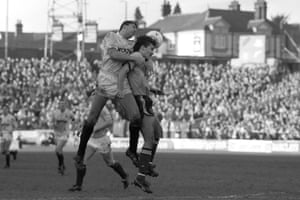 Watford's Paul Wilkinson, right, and Manchester City's Brian Gayle leap for a header at Vicarage Road during the home side's 1-0 win on 04 March 1989, the last time that Watford beat Manchester City.