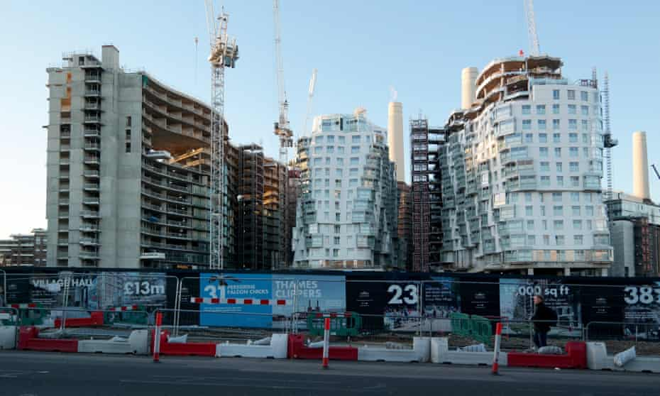 New apartment blocks designed by Norman Foster and Frank Gehry next to Battersea Power Station, Nine Elms, London