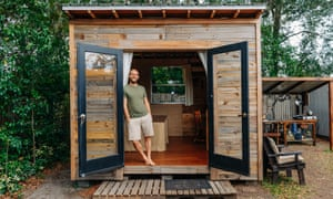 Rob Greenfield in his tiny house in Orlando.