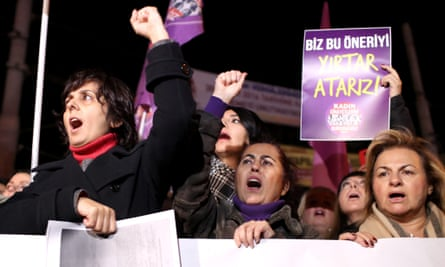 Turkish women protest against a bill which would pardon some people imprisoned for statutory rape.