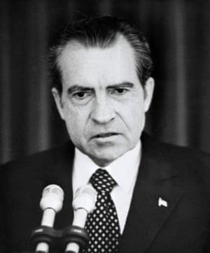 Nixon takes full responsibility for the Watergate scandal during a televised speech.