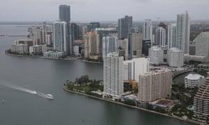 Waterfront condo buildings are seen June 3, 2014 in Miami, Florida.