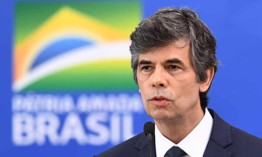 Nelson Teich speaks in Brasília, Brazil, on 17 April.