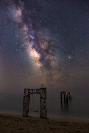 galactic centre shines bright over the Davenport pier