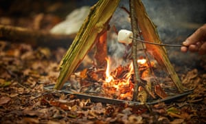 A hand holding a stick with a marshmallow over a small fire in the forest