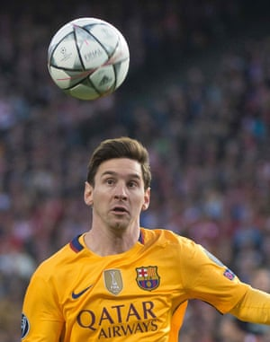 Lionel Messi keeps his eye on the ball.