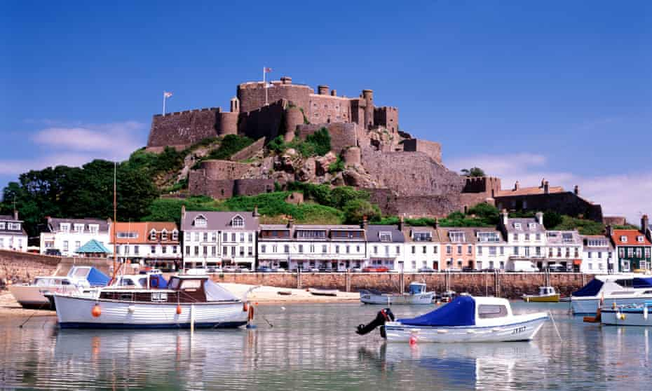 Gorey harbour in Jersey, a UK crown dependency and international finanical centre.
