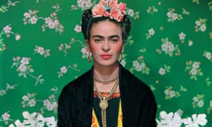 A photograph of Frida Kahlo from a Victoria & Albert Museum exhibit on the artist.
