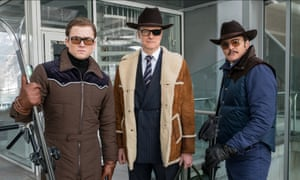 Taron Egerton, Colin Firth and Pedro Pascal in Kingsman: the Golden Circle.