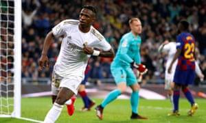 Real Madrid's Vinicius Junior celebrates scoring.