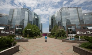 A man walks through the grounds of the Nurly Tau business centre in Almaty, the former capital of Kazakhstan.
