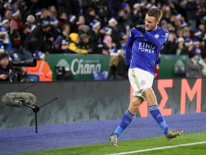 Jamie Vardy of Leicester City kicks a microphone after missing a chance to score for Leicester City against Norwich City. The two sides drew 1-1 as Leicester dropped points for the first time in nine games.