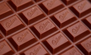 The Cadbury name is seen on a bar of Dairy Milk chocolate in Manchester.