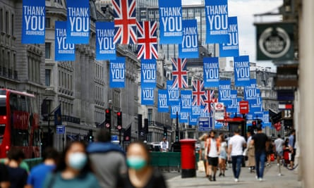 Union flags and banners in Regent Street, central London, following the easing of lockdown measures in  July