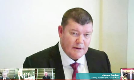 James Packer giving evidence to the inquiry in October.
