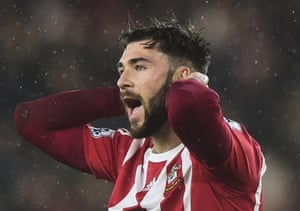 Charlie Austin reacts after a missed chance.
