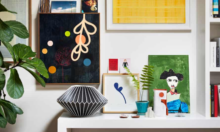 'I start with a very vanilla base': eclectic prints brighten up the white walls.