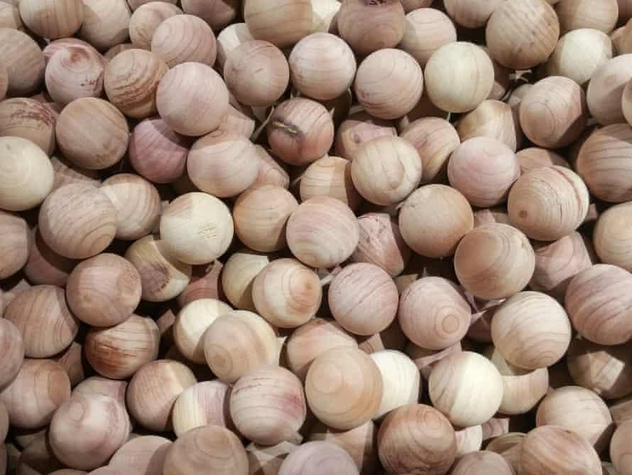 A drawer full of cedar wood balls
