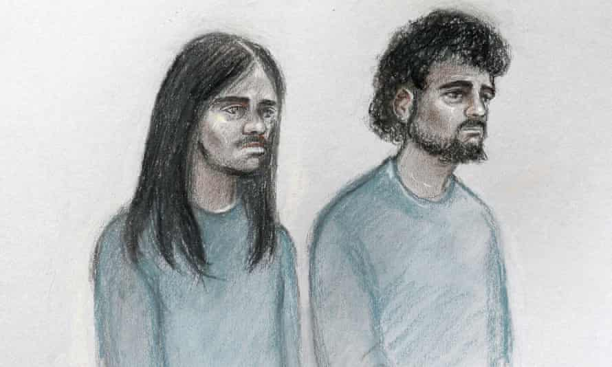 A court sketch of Naa'imur Zakariyah Rahman, left, and Mohammed Aqib Imran in the dock at Westminster magistrates court.