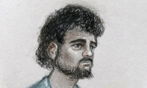 A court artist's sketch of Mohammed Aqib Imran