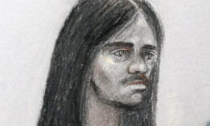 Artist sketch of Naa'imur Zakariyah Rahman at Westminster magistrates court in London