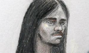 Artist sketch of Naa'imur Zakariyah Rahman at Westminster magistrates court in London