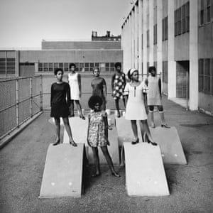 An AJASS-associated modelling group in Harlem, circa 1966, by Kwame Brathwaite.