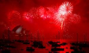 Fireworks light up the Sydney harbour