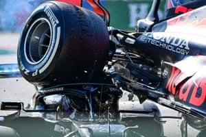 F1 drivers Max Verstappen and Lewis Hamilton crash during the Italian F1 Grand Prix