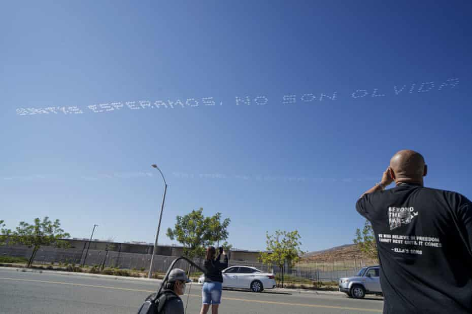 Skywriting over Otay Mesa detention facility in California on Friday