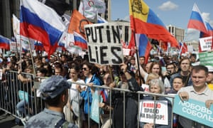 Mostly young people gather in central Moscow to demand that opposition candidates be included on ballots for local elections in September.