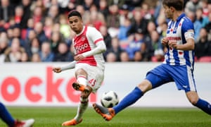 Justin Kluivert, in action here against Heerenveen, asked to become the highest-paid player at Ajax.