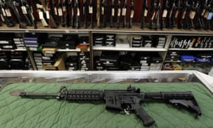 An AR-15 style rifle is displayed at a gun range in Colorado.