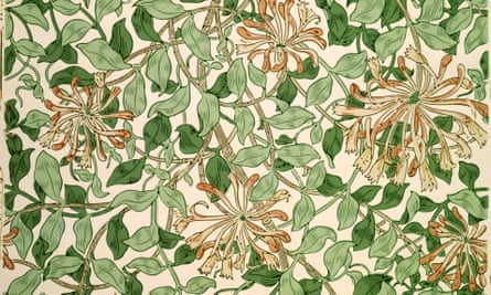 Honeysuckle wallpaper designed by May Morris, c.1883.