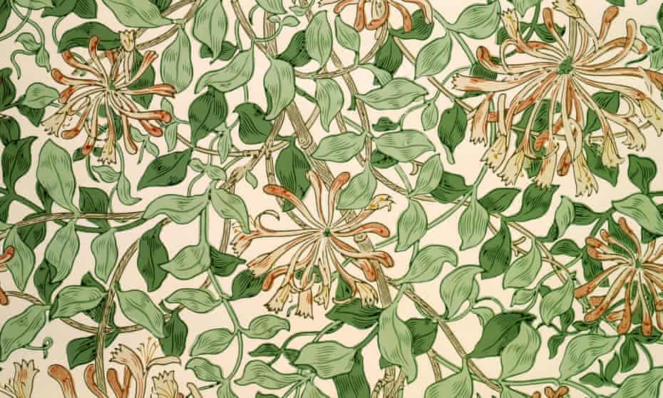 Lush and persuasive … Honeysuckle wallpaper design by May Morris (c1883).
