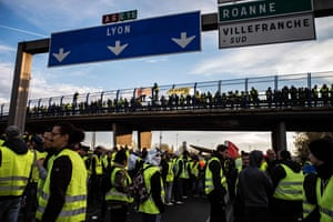 Protesters block the A6 motorway in Villefranche-sur-Saone.