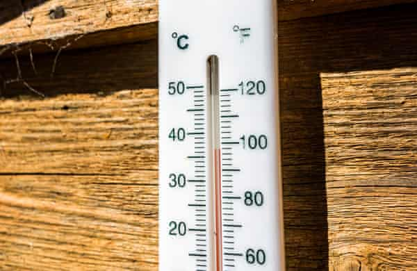 Leominster, Herefordshire: a garden thermometer is seen reading almost 37C.