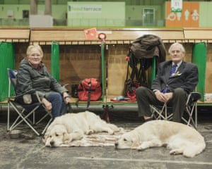 A couple relax between competitions with their golden retrievers on the gun dog day of the competition
