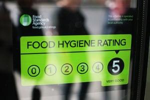Food hygiene rating sticker displayed on a shop