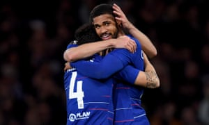 Ruben Loftus-Cheek of Chelsea celebrates with Cesc Fabregas after scoring his hat-trick goal.