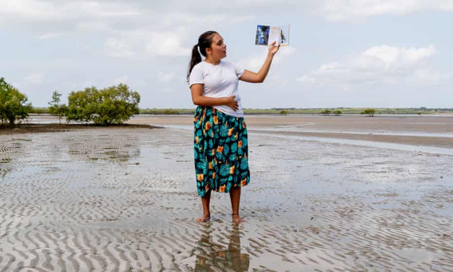 Siena Stubbs reads from her book Our Birds at the 2020 NT Writers Festival, on the Mangrove Story Walk around Ludmilla Bay.