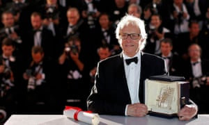 Golden touch: director Ken Loach poses with the Palme d'Or award for his film I, Daniel Blake.
