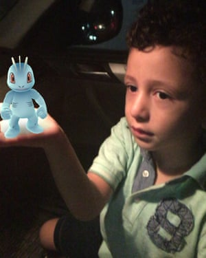 Mohamed Tammaa's four-year-old son in Cairo, Egypt with a Machop in his hand